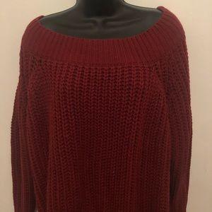 Fashion Nova distressed off shoulder sweater NWOT